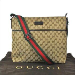 Authentic Gucci brown monogram messenger bag